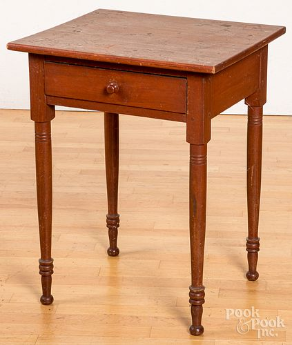 Pennsylvania red stained one-drawer stand