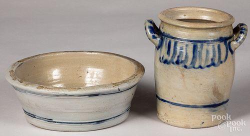 German stoneware crock and milk pan