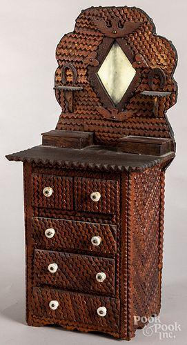 Tramp art doll dresser, late 19th c.
