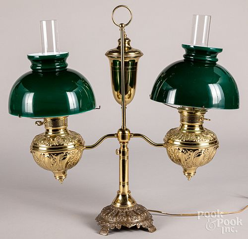 Brass double arm student lamp