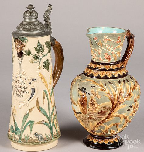 German stein, together with a pottery pitcher