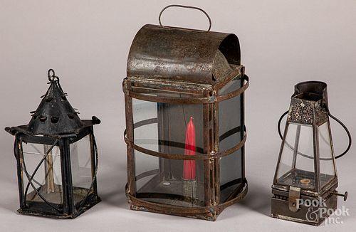 Three tin lanterns, 19th c.