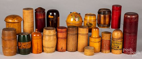 Collection of turned wood banks, canisters, etc.