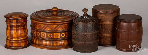 Five wood canisters