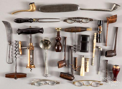 Corkscrews, spectacles, pipes, etc.