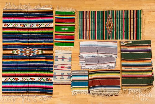Eight Southwest and Mexican weavings