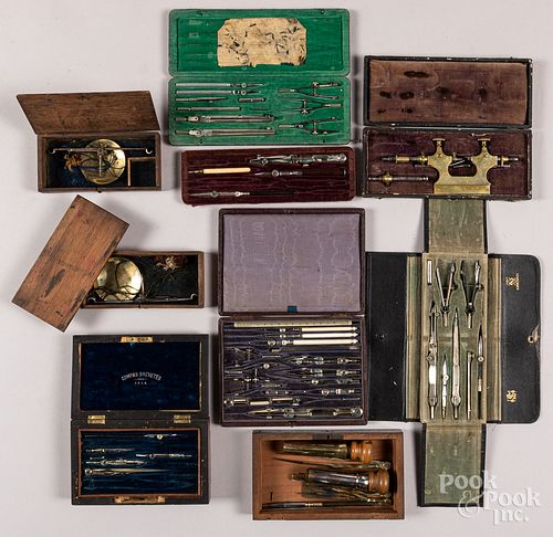 Cased instrument sets, drafting, etc.