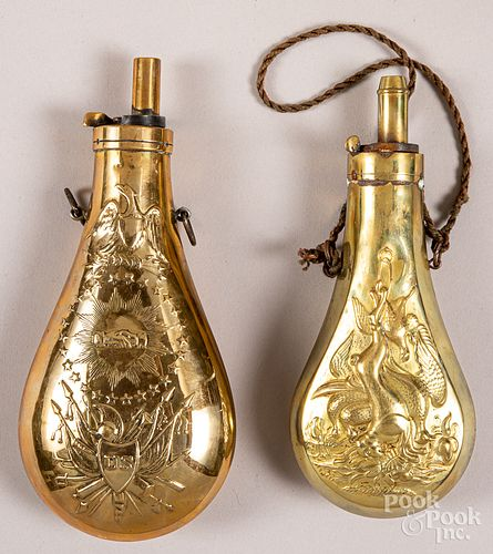 Two brass powder flasks