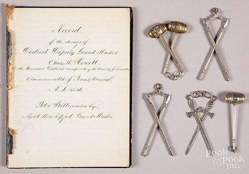 Lancaster, Pennsylvania Masonic record book, etc.