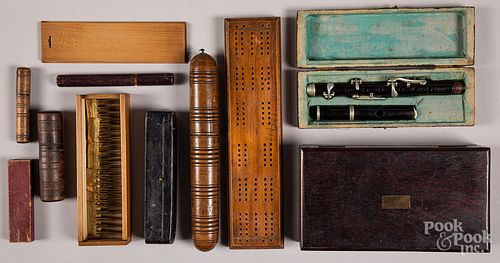 Needle cases, cribbage board, boxes, etc.