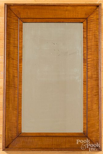 Large tiger maple mirror, 19th c.