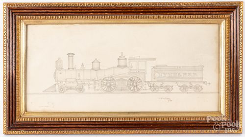 Pencil drawing of a locomotive