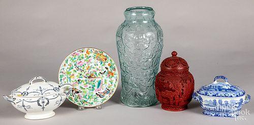 Chinese cinnabar urn, etc.