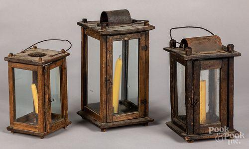 Three primitive pine lanterns, 19th c.