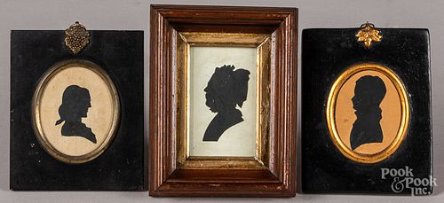 Two silhouettes, 19th c., together with another