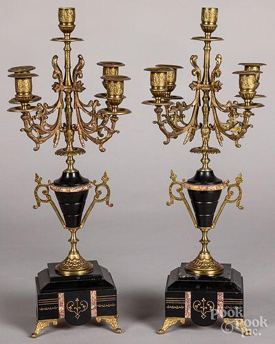 Pair of slate and gilt metal candelabra