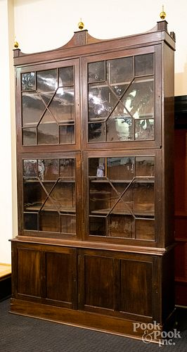 Large Federal mahogany two-part bookcase