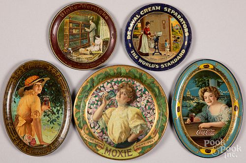Five tin lithograph tip trays