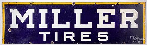 Miller Tires enameled porcelain advertising sign