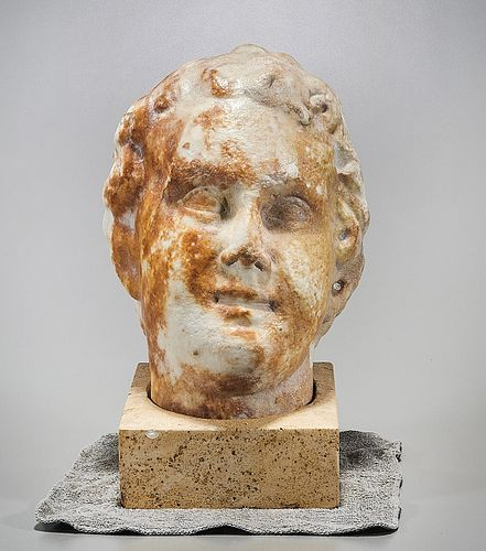 Life-sized Greek Marble Head of Youth