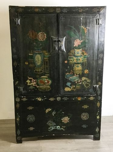 Large Paint Decorated Chinese Cabinet
