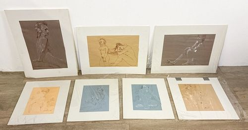 Lot of 7 Signed Figure Drawings