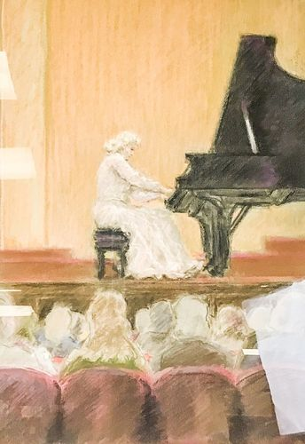 Signed Pastel Piano Player