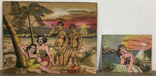 2 Frank Pietri Beach Scene Illustrations