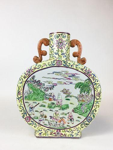 Chinese Famille Jaune Moonflask Vase