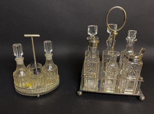 2 Silverplate & Glass Cruet Sets