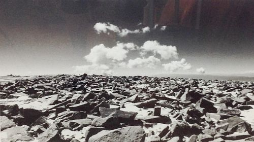 Black and White Photo of rocks and clouds