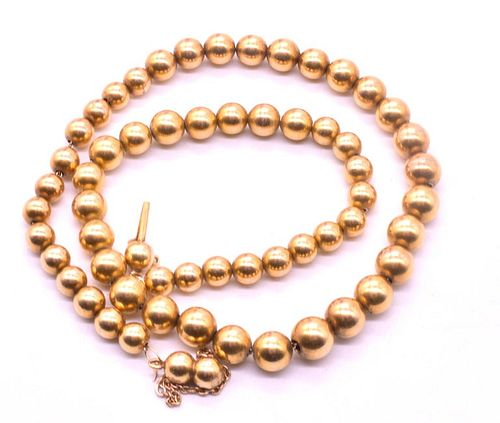 18K Gold Beaded Victorian Collar Necklace, c.1860