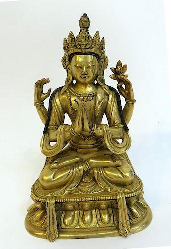 Qing Era Gilt Bronze Buddha