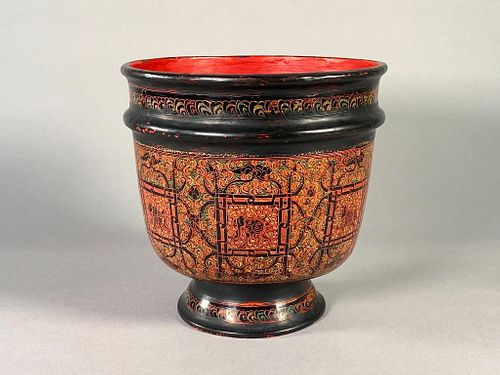 Burmese Lacquer Footed Bowl