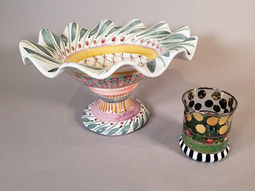 Mackenzie Childs Pedestal Bowl and Glass Tumbler