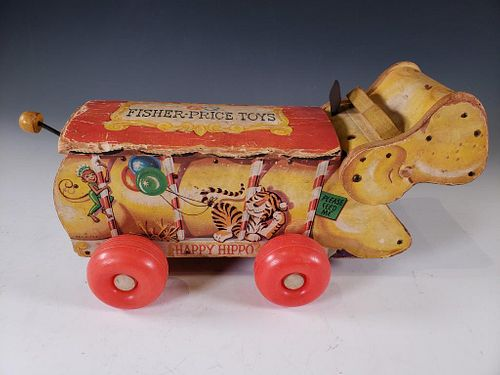 Fisher Price Lithographed Paper and Wood Happy Hippo