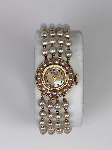 Lucien Piccard Pearl and Gold Dress Watch