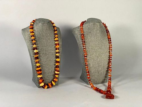 Two Natural Amber Bead Strands