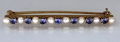 14K Yellow Gold, Sapphire and Pearl Bar Pin