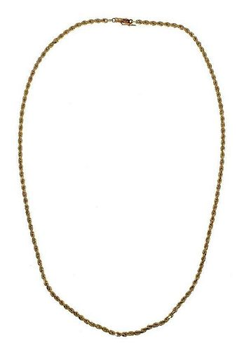 14K Yellow Gold Spiral Link Chain Necklace