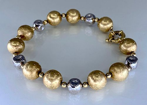 14K Yellow and White Gold Bead Bracelet