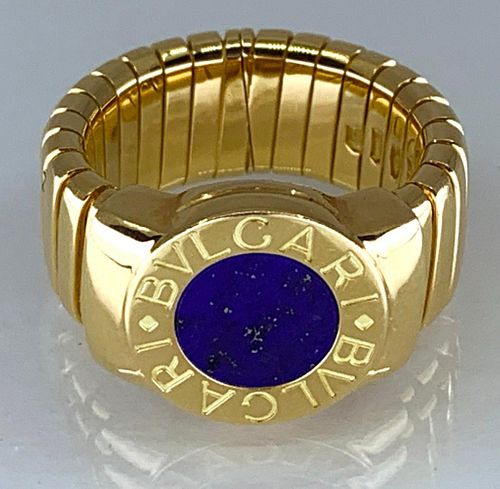 Bulgari 18K Yellow Gold and Lapis Tubogas Ring