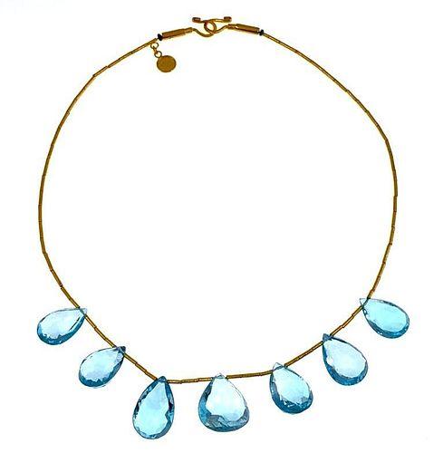 Elif Dogan 24K Gold and Topaz Necklace
