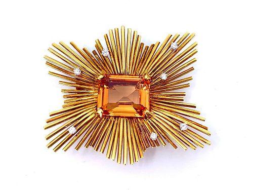 Custom 18K Yellow Gold,Imperial Topaz and Diamond