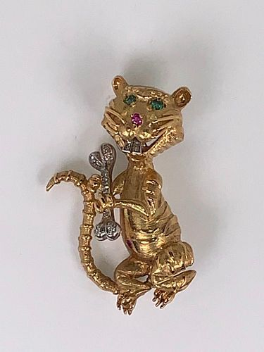 18K Yellow Gold Tiger Brooch with Gemstones
