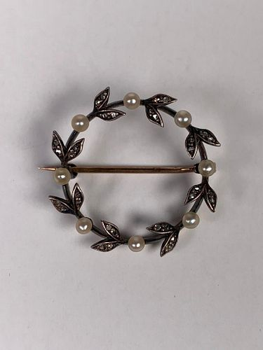 14K White Gold, Diamond and Pearl Circle Pin