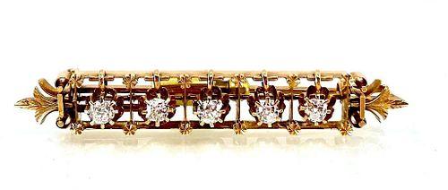 Victorian 14K Yellow Gold and Diamond Bar Pin