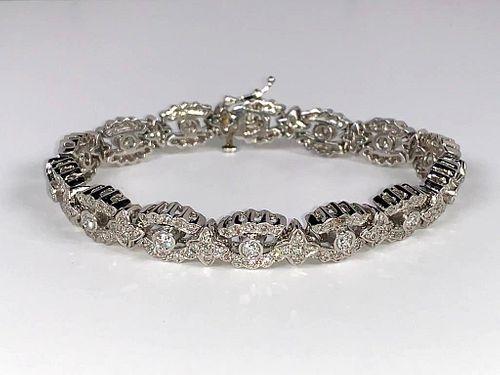 Platinum and Diamond Link Bracelet