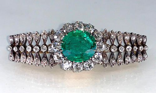 Antique Colombian Emerald, Gold, Diamond and Platinum