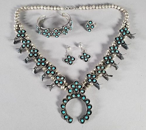 Native American Sterling and Turquoise Jewelry Suite